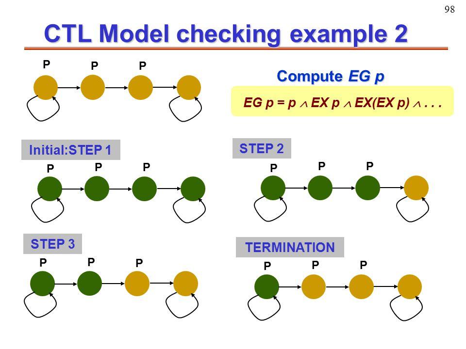 98 CTL Model checking example 2 P P P EG p = p  EX p  EX(EX p) ... Compute EG p P P P P P P P P P P P P Initial:STEP 1 STEP 2 STEP 3 TERMINATION