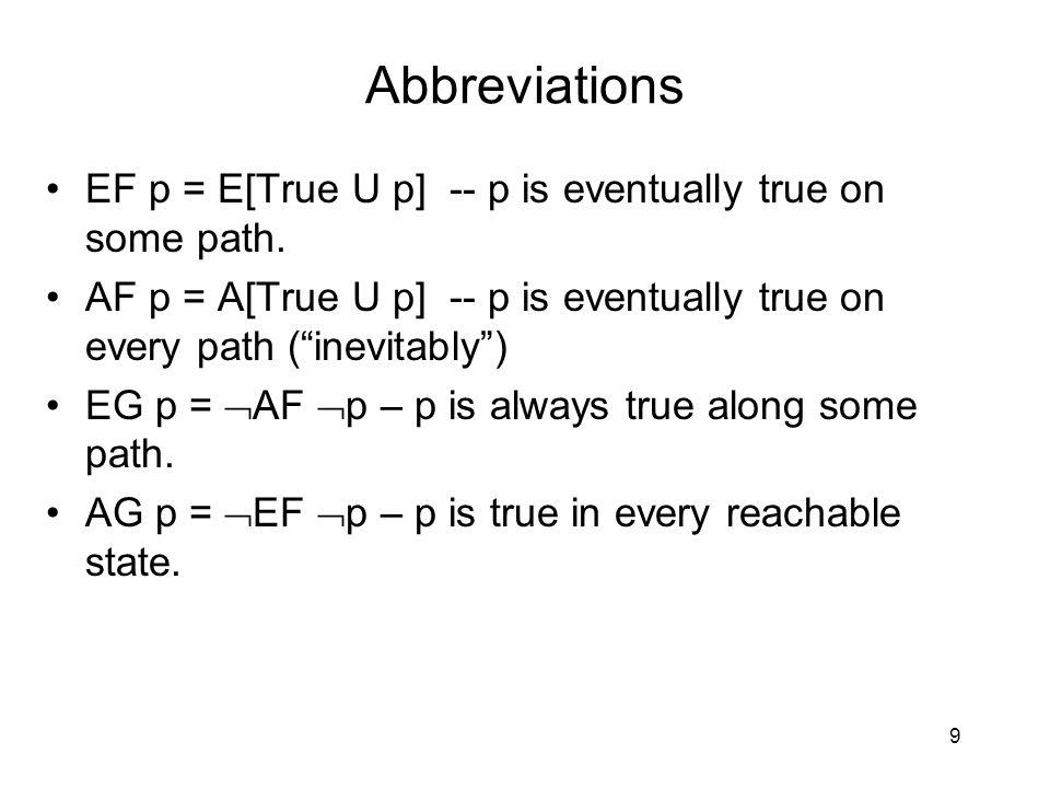 Abbreviations EF p = E[True U p] -- p is eventually true on some path.