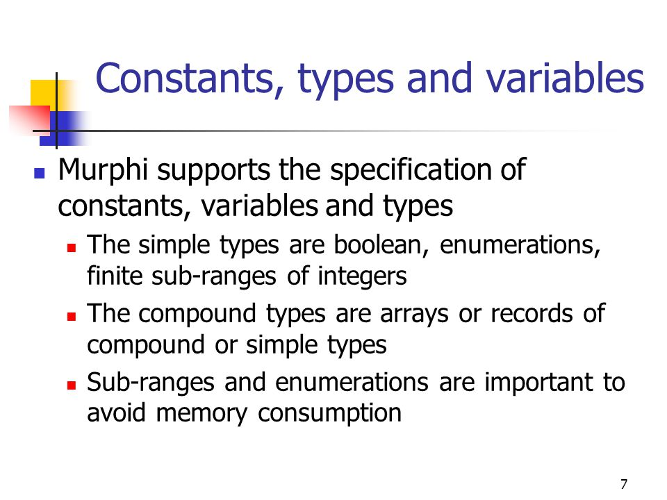 8 Constants, types and variables