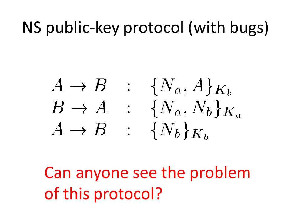 NS public-key protocol (with bugs) Can anyone see the problem of this protocol?