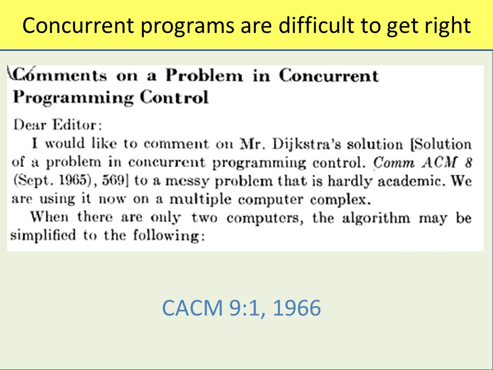 Concurrent programs are difficult to get right CC CACM 9:1, 1966