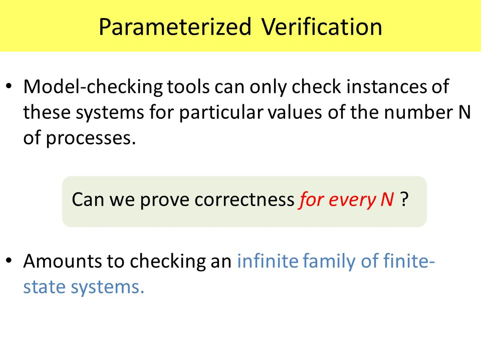 Parameterized Verification Model-checking tools can only check instances of these systems for particular values of the number N of processes. Can we p