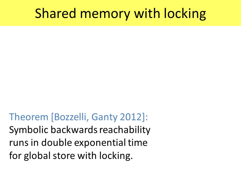 Shared memory with locking Theorem [Bozzelli, Ganty 2012]: Symbolic backwards reachability runs in double exponential time for global store with locki
