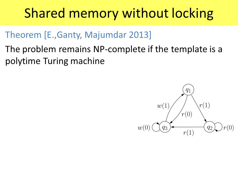 Shared memory without locking Theorem [E.,Ganty, Majumdar 2013] The problem remains NP-complete if the template is a polytime Turing machine