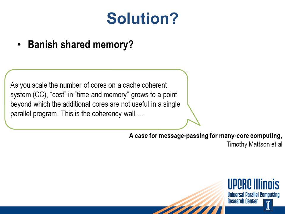 Solution. Banish shared memory.