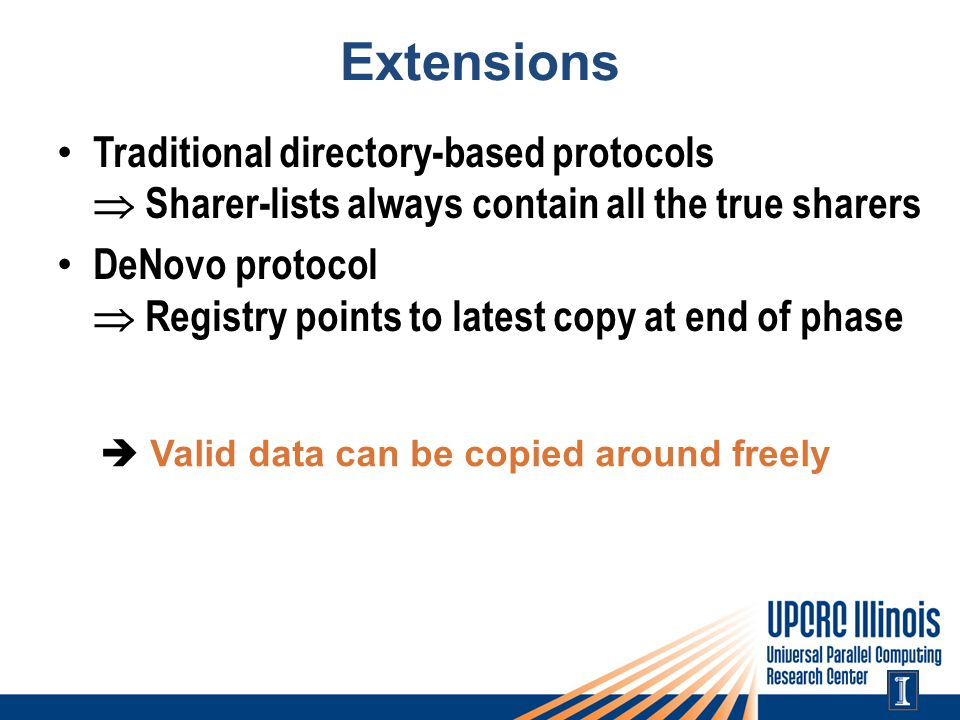 Extensions Traditional directory-based protocols  Sharer-lists always contain all the true sharers DeNovo protocol  Registry points to latest copy at end of phase  Valid data can be copied around freely