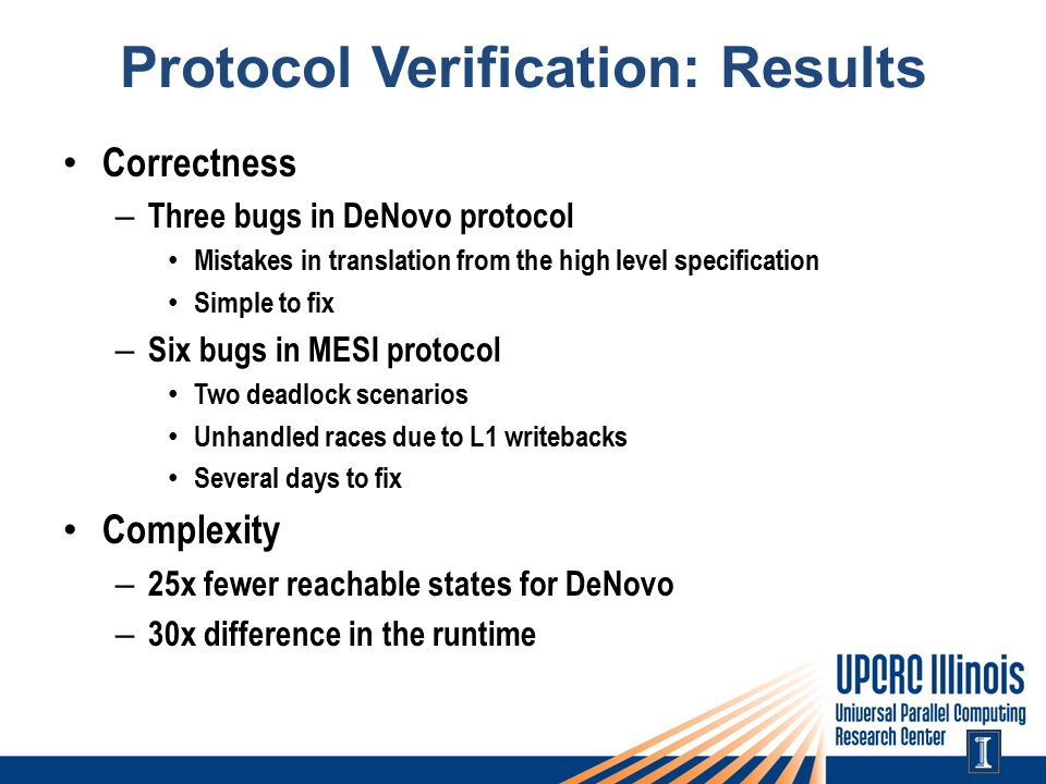 Protocol Verification: Results Correctness – Three bugs in DeNovo protocol Mistakes in translation from the high level specification Simple to fix – Six bugs in MESI protocol Two deadlock scenarios Unhandled races due to L1 writebacks Several days to fix Complexity – 25x fewer reachable states for DeNovo – 30x difference in the runtime