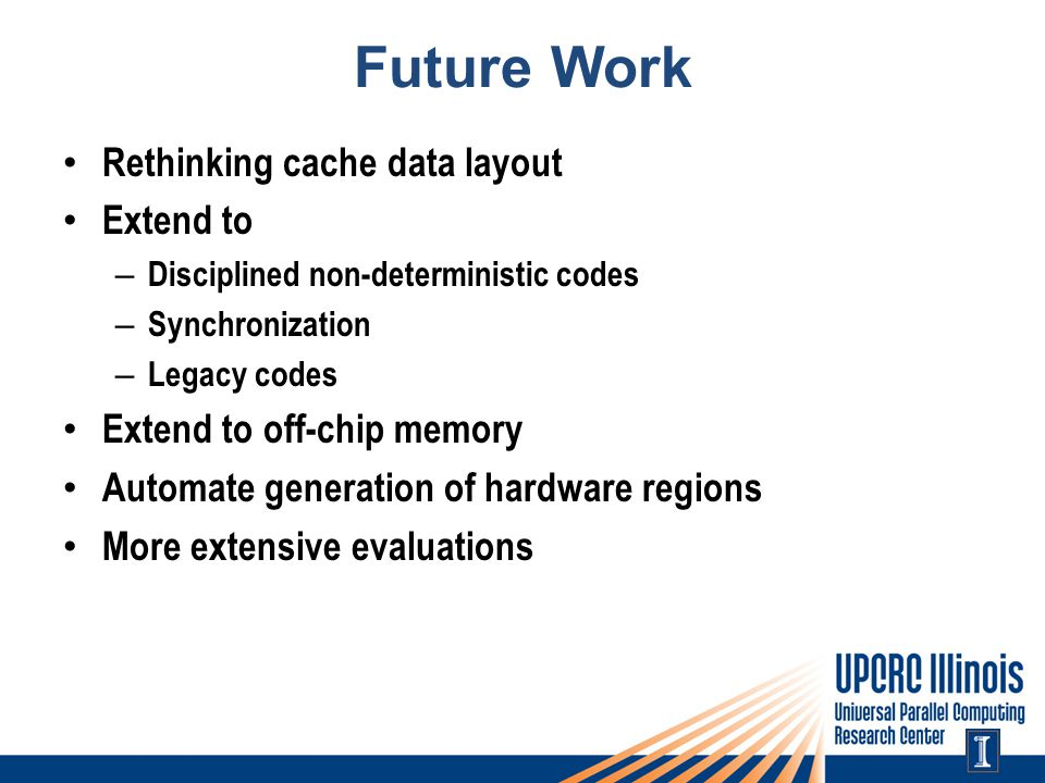 Future Work Rethinking cache data layout Extend to – Disciplined non-deterministic codes – Synchronization – Legacy codes Extend to off-chip memory Automate generation of hardware regions More extensive evaluations