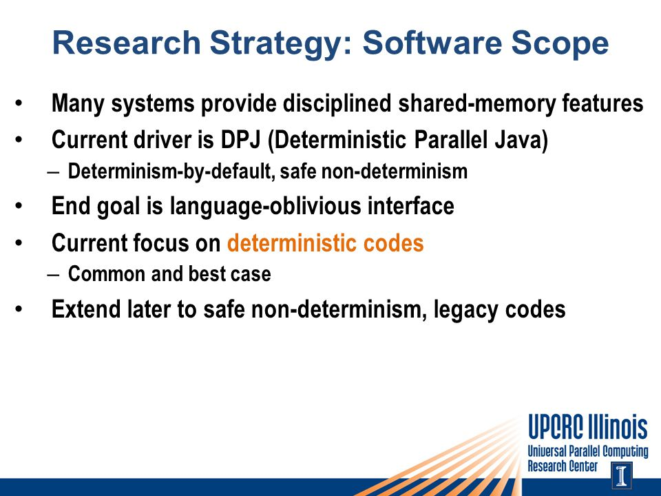 Research Strategy: Software Scope Many systems provide disciplined shared-memory features Current driver is DPJ (Deterministic Parallel Java) – Determinism-by-default, safe non-determinism End goal is language-oblivious interface Current focus on deterministic codes – Common and best case Extend later to safe non-determinism, legacy codes