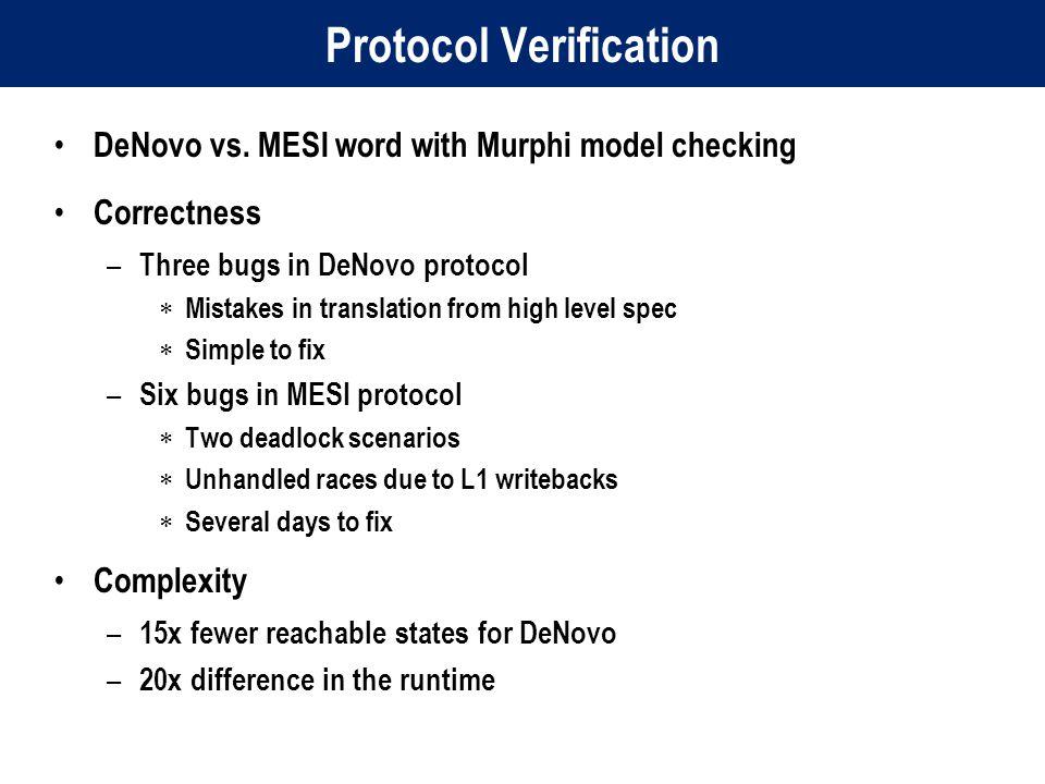Protocol Verification DeNovo vs.