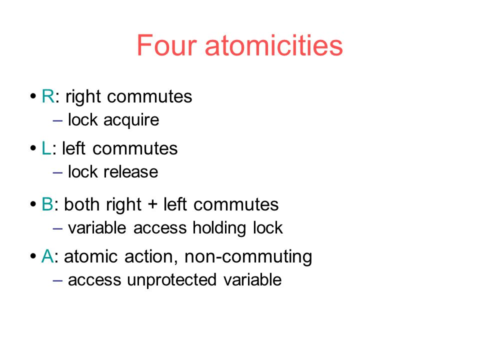  B: both right + left commutes –variable access holding lock  A: atomic action, non-commuting –access unprotected variable Four atomicities  L: left commutes –lock release  R: right commutes –lock acquire