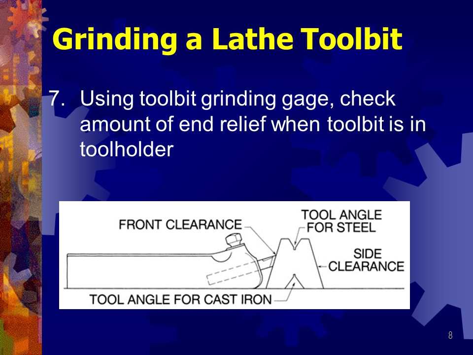 8 7.Using toolbit grinding gage, check amount of end relief when toolbit is in toolholder Grinding a Lathe Toolbit