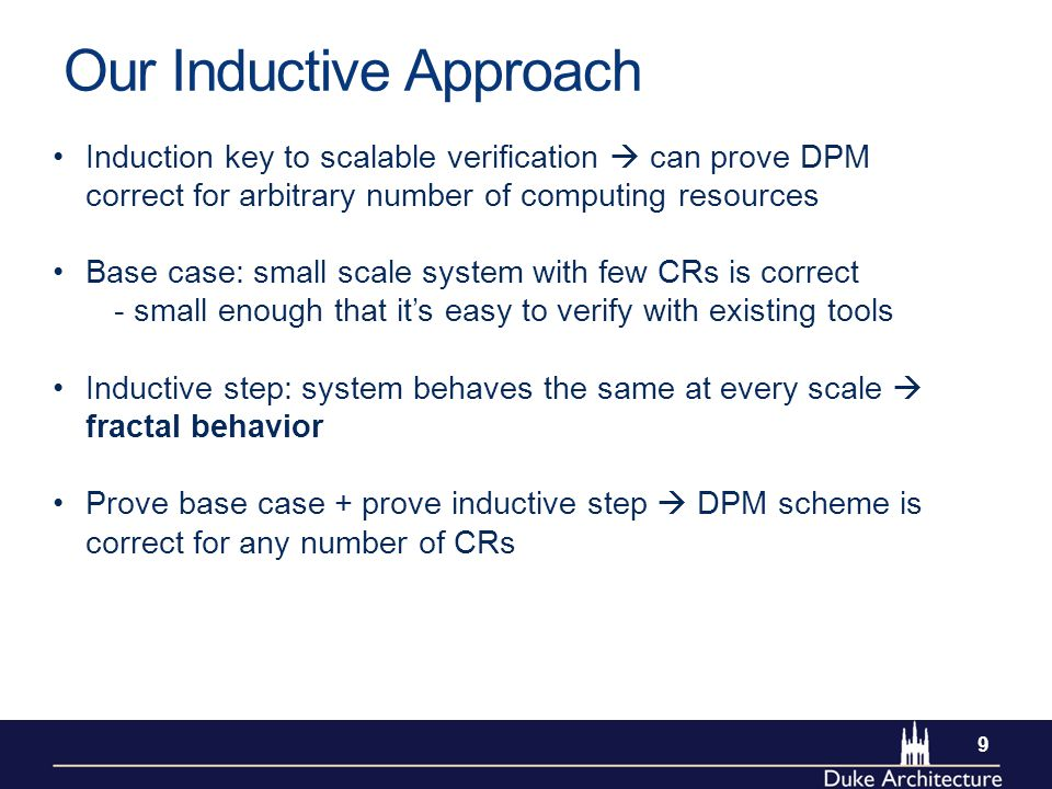 Our Inductive Approach Induction key to scalable verification  can prove DPM correct for arbitrary number of computing resources Base case: small scale system with few CRs is correct - small enough that it's easy to verify with existing tools Inductive step: system behaves the same at every scale  fractal behavior Prove base case + prove inductive step  DPM scheme is correct for any number of CRs 9