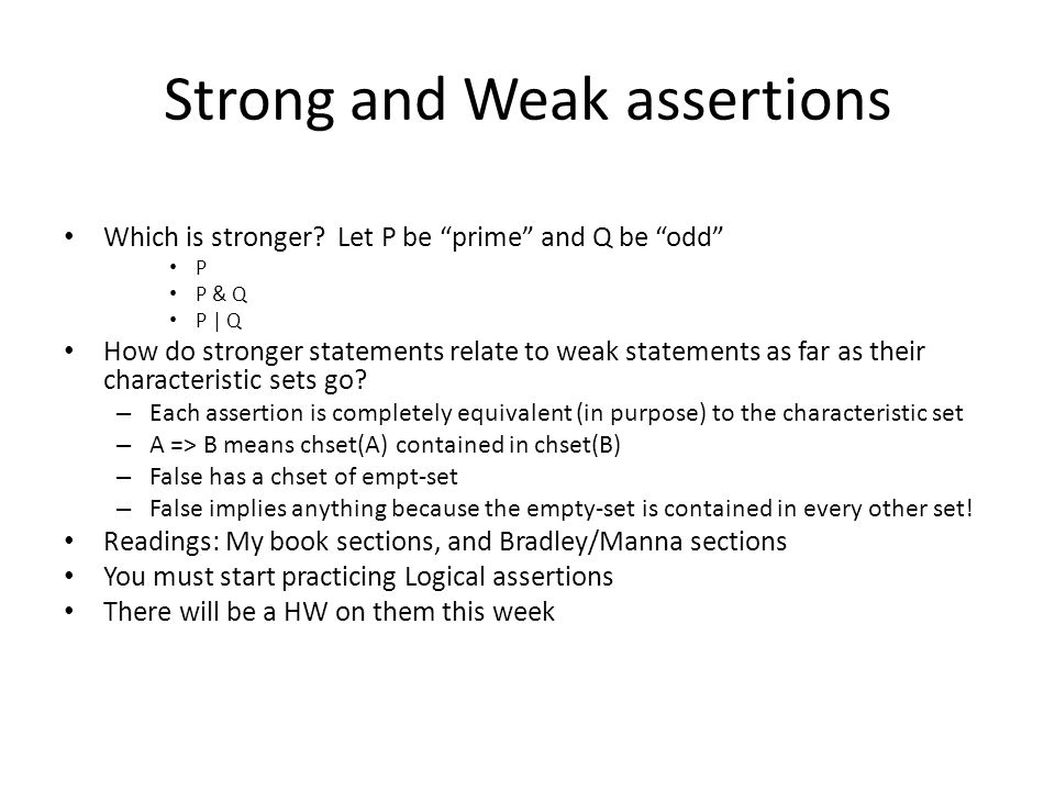 Strong and Weak assertions Which is stronger.