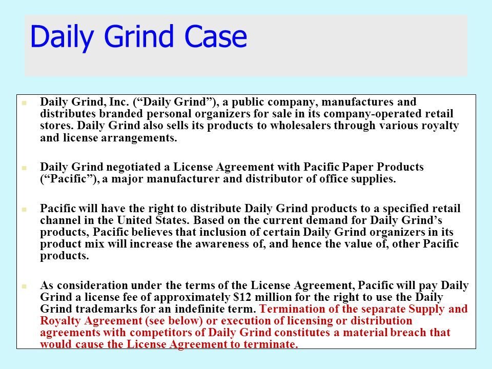 Daily Grind Case Daily Grind, Inc.