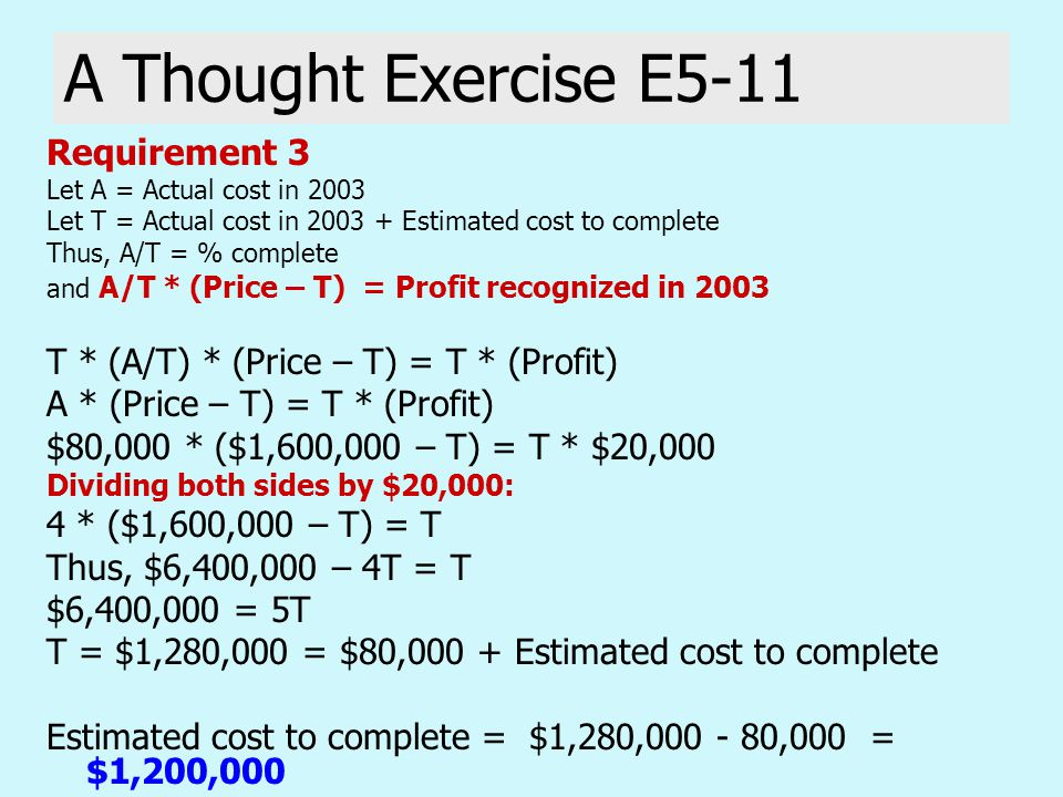 A Thought Exercise E5-11 Requirement 3 Let A = Actual cost in 2003 Let T = Actual cost in 2003 + Estimated cost to complete Thus, A/T = % complete and A/T * (Price – T) = Profit recognized in 2003 T * (A/T) * (Price – T) = T * (Profit) A * (Price – T) = T * (Profit) $80,000 * ($1,600,000 – T) = T * $20,000 Dividing both sides by $20,000: 4 * ($1,600,000 – T) = T Thus, $6,400,000 – 4T = T $6,400,000 = 5T T = $1,280,000 = $80,000 + Estimated cost to complete Estimated cost to complete = $1,280,000 - 80,000 = $1,200,000