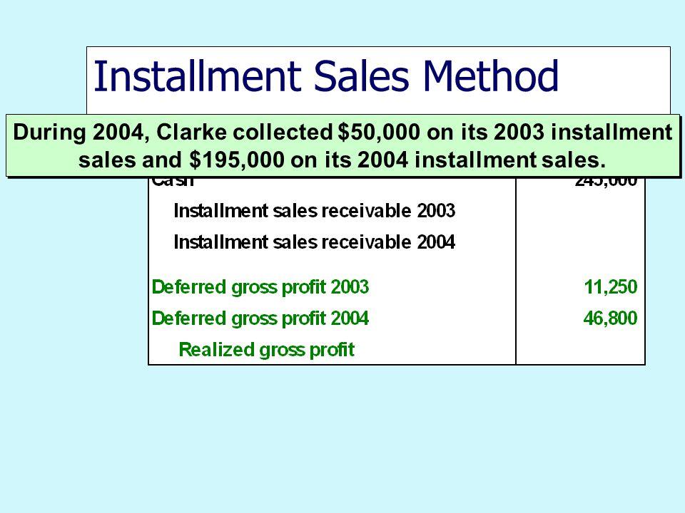 Installment Sales Method During 2004, Clarke collected $50,000 on its 2003 installment sales and $195,000 on its 2004 installment sales.