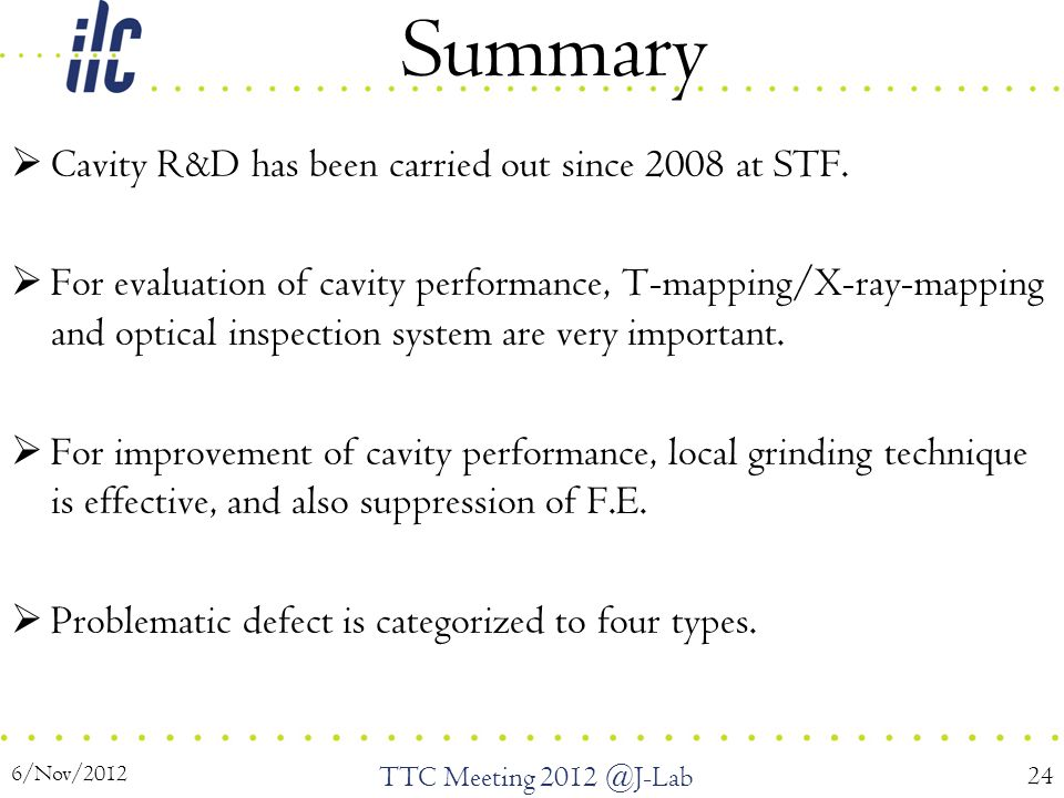 Summary  Cavity R&D has been carried out since 2008 at STF.  For evaluation of cavity performance, T-mapping/X-ray-mapping and optical inspection sy