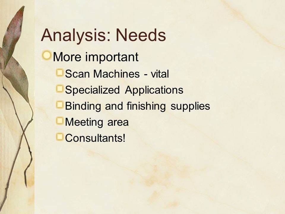 Analysis: Needs More important Scan Machines - vital Specialized Applications Binding and finishing supplies Meeting area Consultants!
