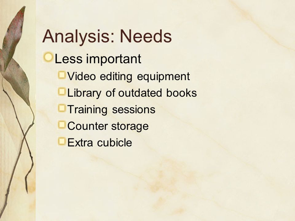 Analysis: Needs Less important Video editing equipment Library of outdated books Training sessions Counter storage Extra cubicle