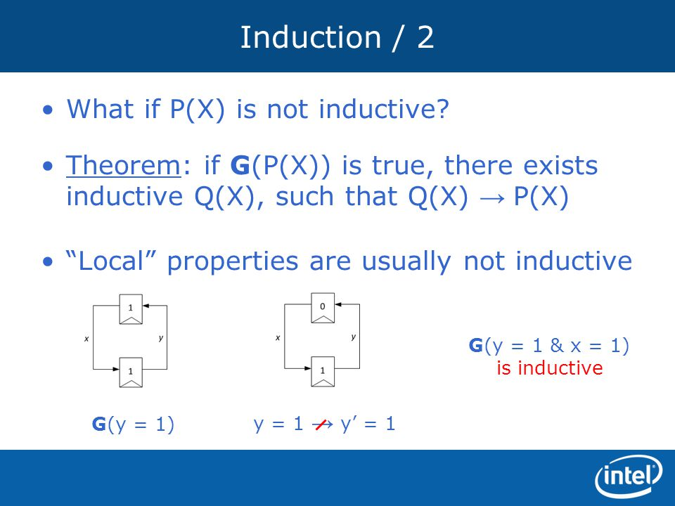 """Induction / 2 Theorem: if G(P(X)) is true, there exists inductive Q(X), such that Q(X) → P(X) What if P(X) is not inductive? """"Local"""" properties are us"""