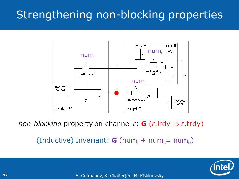 A. Gotmanov, S. Chatterjee, M. Kishinevsky 37 Strengthening non-blocking properties (Inductive) Invariant: G (num i + num c = num o ) num i num c num