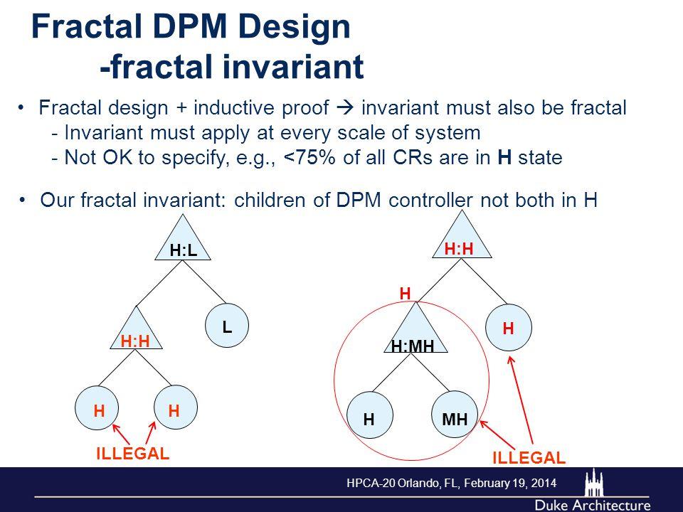 Fractal DPM Design -fractal invariant Fractal design + inductive proof  invariant must also be fractal - Invariant must apply at every scale of syste