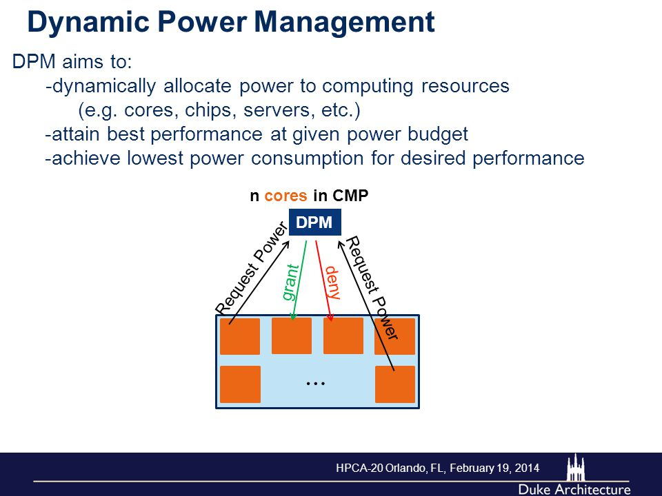 DPM aims to: -dynamically allocate power to computing resources (e.g. cores, chips, servers, etc.) -attain best performance at given power budget -ach
