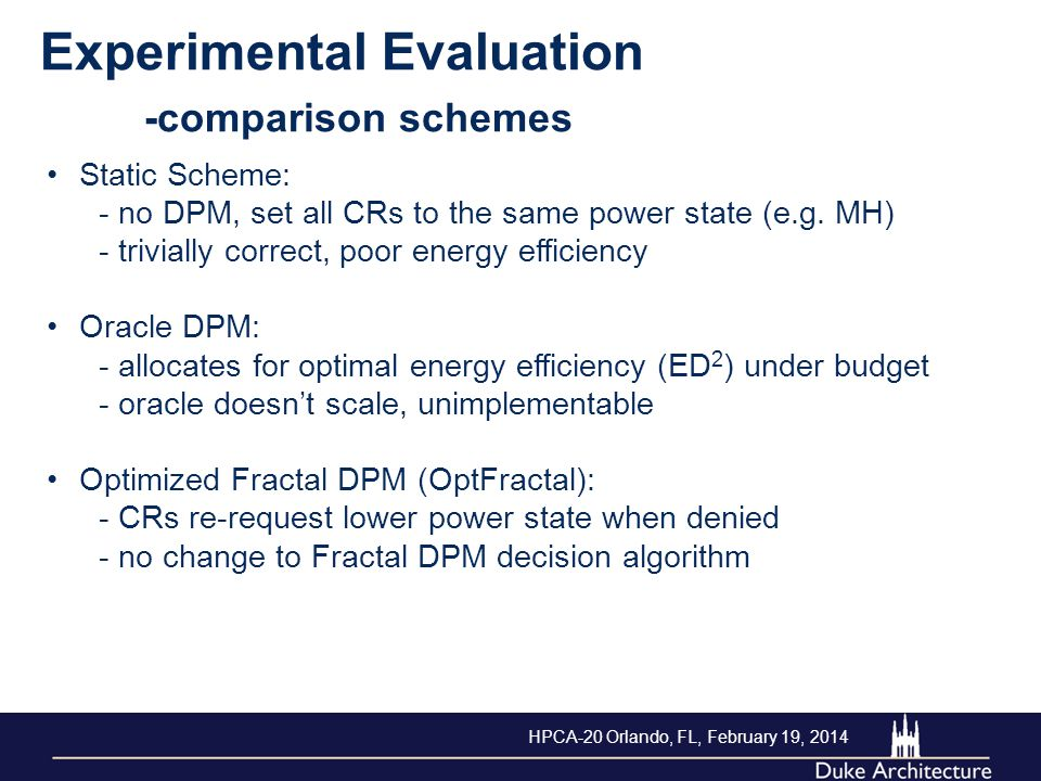 Experimental Evaluation -comparison schemes Static Scheme: - no DPM, set all CRs to the same power state (e.g. MH) - trivially correct, poor energy ef