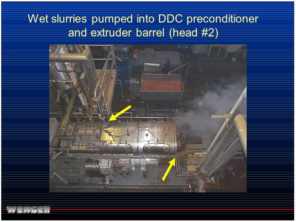 Wet slurries pumped into DDC preconditioner and extruder barrel (head #2)