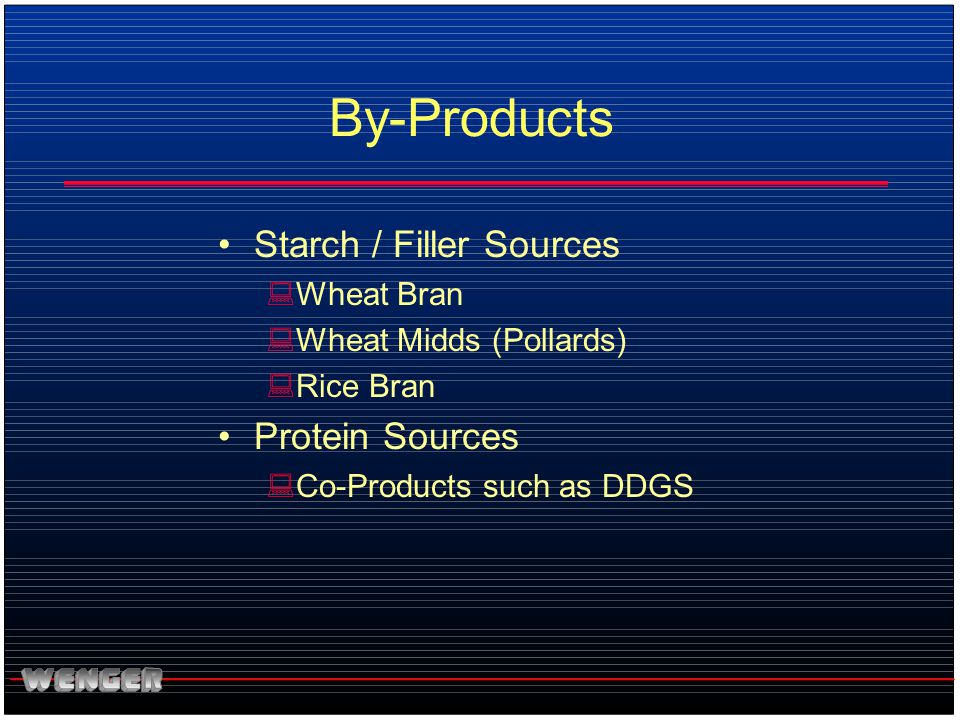 By-Products Starch / Filler Sources :Wheat Bran :Wheat Midds (Pollards) :Rice Bran Protein Sources :Co-Products such as DDGS