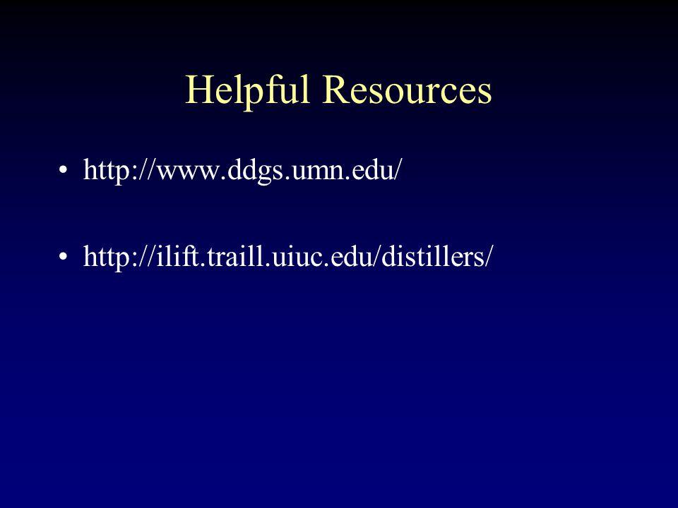 Helpful Resources http://www.ddgs.umn.edu/ http://ilift.traill.uiuc.edu/distillers/