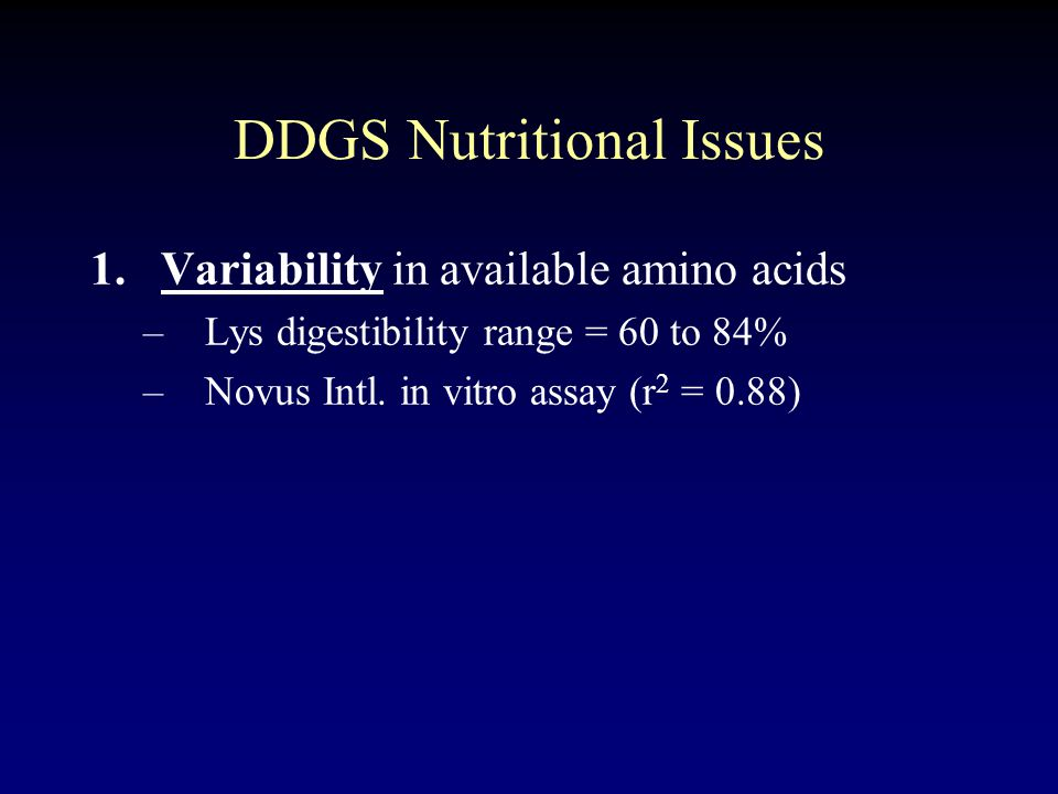 DDGS Nutritional Issues 1.Variability in available amino acids –Lys digestibility range = 60 to 84% –Novus Intl.