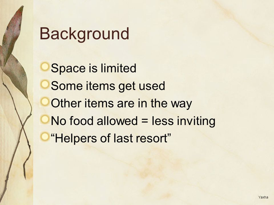 "Background Space is limited Some items get used Other items are in the way No food allowed = less inviting ""Helpers of last resort"" Yaxha"