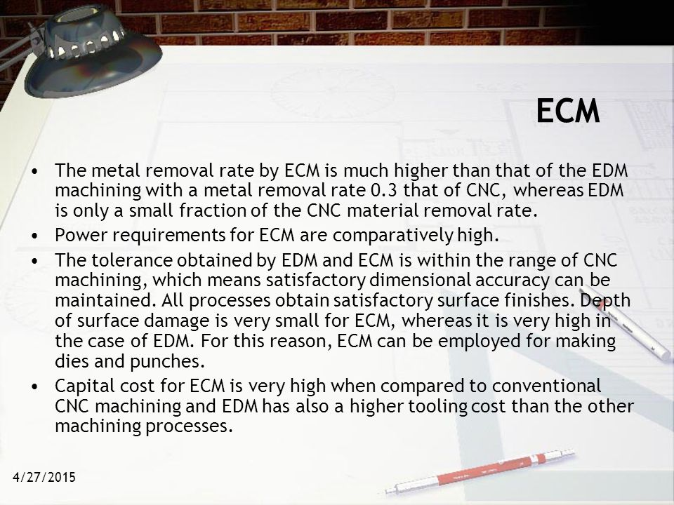 4/27/2015 µ-ECM The application of ECM in thin film processing and in the fabrication of microstructures is referred to as electrochemical micromachining (EMM) or micro electrochemical machining µ-ECM.