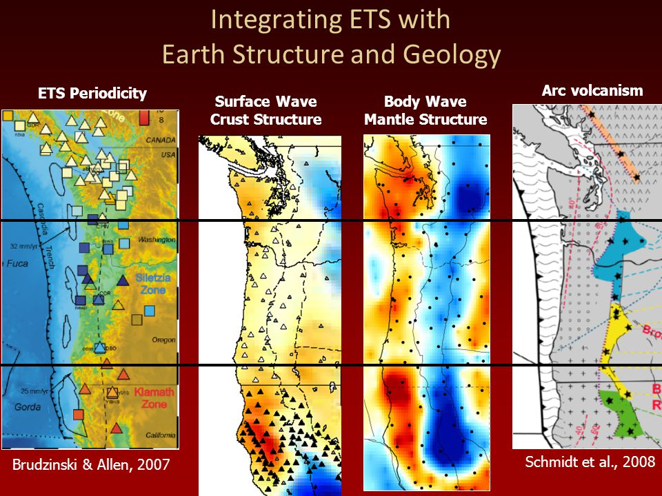 Integrating ETS with Earth Structure and Geology ETS Periodicity Surface Wave Crust Structure Body Wave Mantle Structure Brudzinski & Allen, 2007 Arc volcanism Schmidt et al., 2008