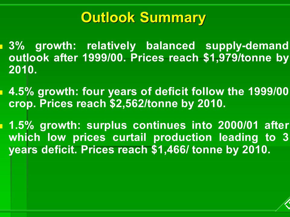 Outlook Summary 3% growth: relatively balanced supply-demand outlook after 1999/00.