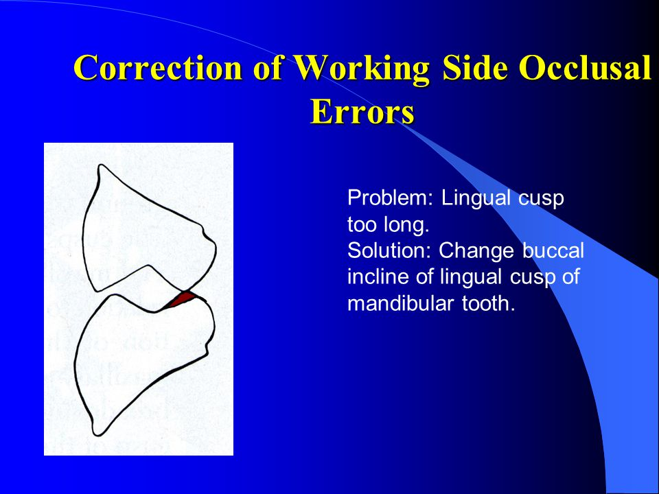 Correction of Working Side Occlusal Errors Problem: Lingual cusp too long. Solution: Change buccal incline of lingual cusp of mandibular tooth.