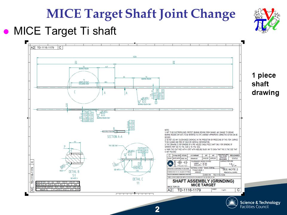 MICE Target Shaft Joint Change l MICE Target Ti shaft 1 piece shaft drawing