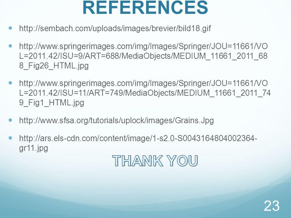 REFERENCES http://sembach.com/uploads/images/brevier/bild18.gif http://www.springerimages.com/img/Images/Springer/JOU=11661/VO L=2011.42/ISU=9/ART=688/MediaObjects/MEDIUM_11661_2011_68 8_Fig26_HTML.jpg http://www.springerimages.com/img/Images/Springer/JOU=11661/VO L=2011.42/ISU=11/ART=749/MediaObjects/MEDIUM_11661_2011_74 9_Fig1_HTML.jpg http://www.sfsa.org/tutorials/uplock/images/Grains.Jpg http://ars.els-cdn.com/content/image/1-s2.0-S0043164804002364- gr11.jpg 23