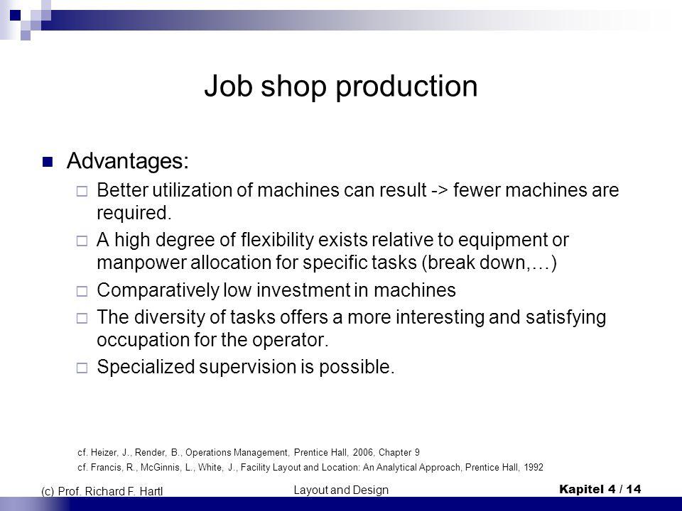 Layout and DesignKapitel 4 / 14 (c) Prof. Richard F. Hartl Job shop production Advantages:  Better utilization of machines can result -> fewer machin