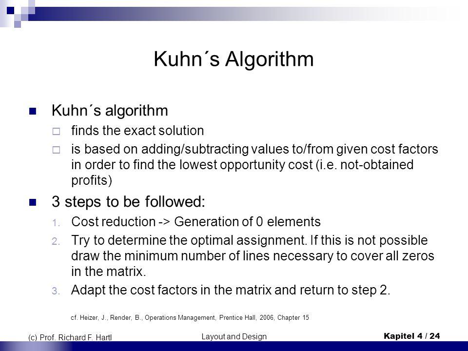 Layout and DesignKapitel 4 / 24 (c) Prof. Richard F. Hartl Kuhn´s Algorithm Kuhn´s algorithm  finds the exact solution  is based on adding/subtracti