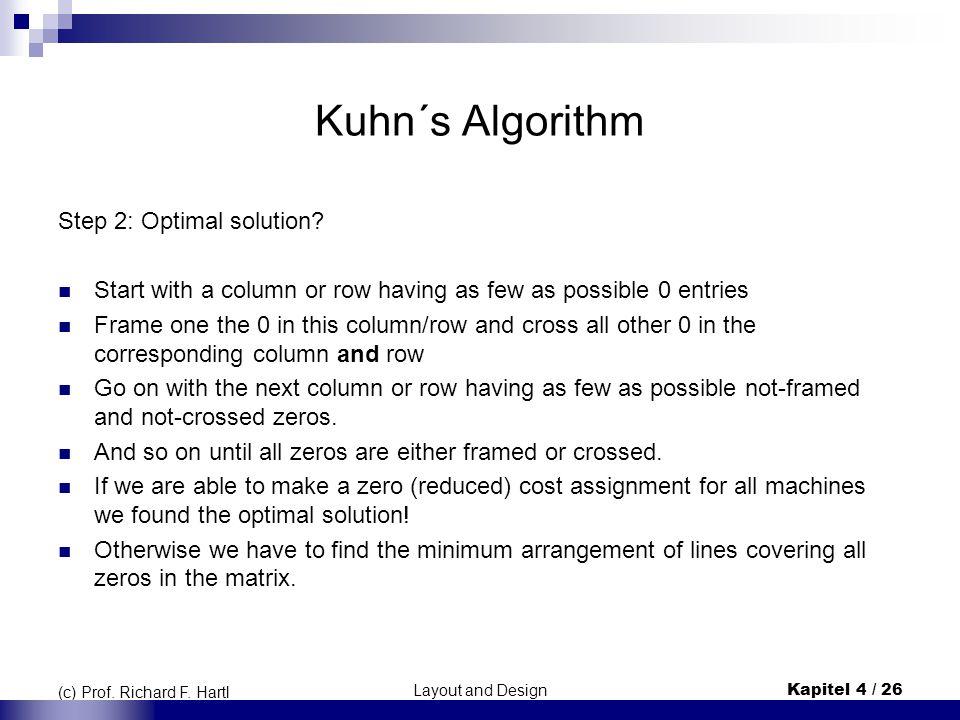 Layout and DesignKapitel 4 / 26 (c) Prof. Richard F. Hartl Kuhn´s Algorithm Step 2: Optimal solution? Start with a column or row having as few as poss
