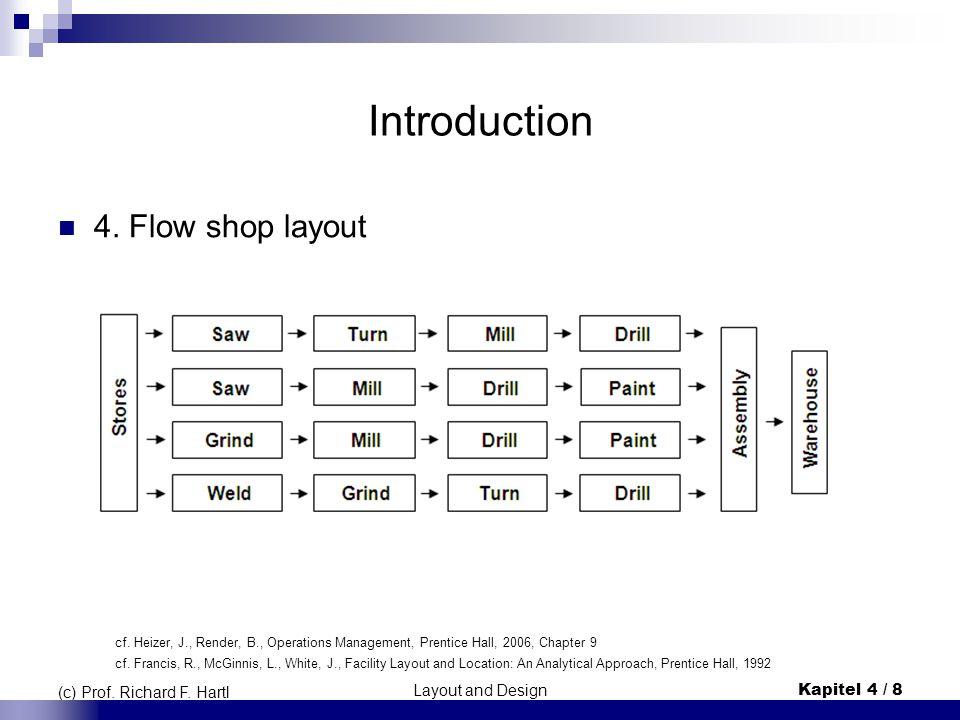 Layout and DesignKapitel 4 / 8 (c) Prof. Richard F. Hartl Introduction 4. Flow shop layout cf. Heizer, J., Render, B., Operations Management, Prentice