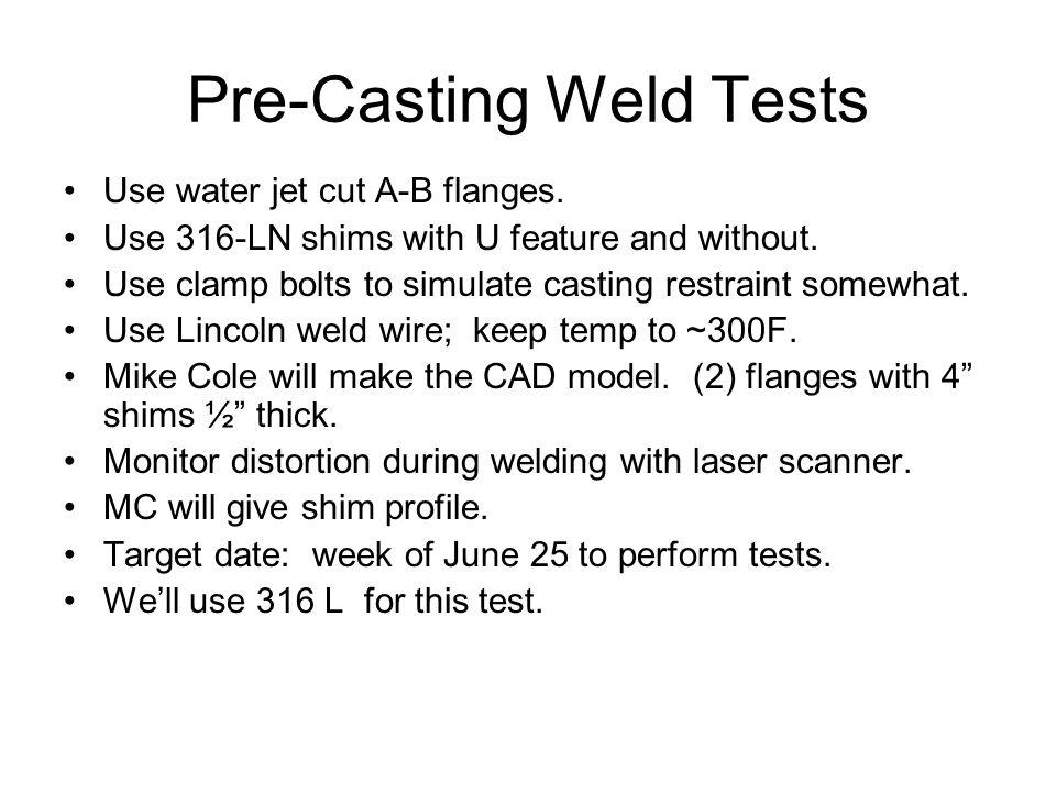 Casting-Casting Demo Weld Test Casting-casting weld test: –Use actual shim design details.