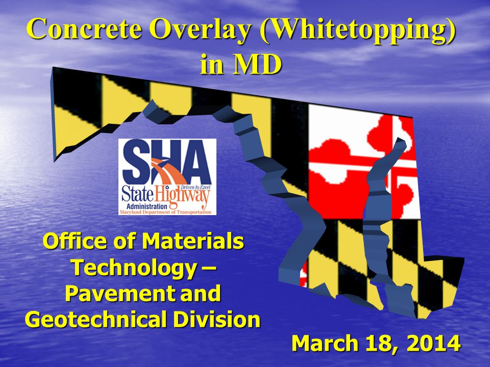 Overview Introduction Introduction History of Concrete Overlay in MD History of Concrete Overlay in MD Completed Projects in MD Completed Projects in MD Selection of US 50 at US 301 Selection of US 50 at US 301 Design of US 50 at US 301 Design of US 50 at US 301 Concrete Overlay Pictures Concrete Overlay Pictures Lessons Learned Lessons Learned
