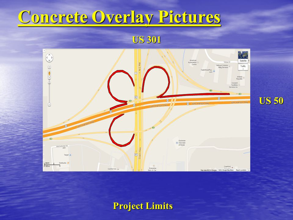 Concrete Overlay Pictures Project Limits US 50 US 301