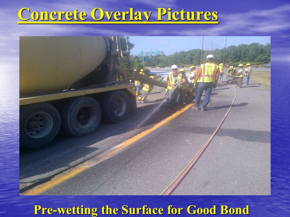 Concrete Overlay Pictures Pre-wetting the Surface for Good Bond