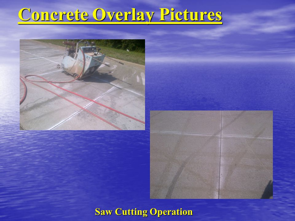 Concrete Overlay Pictures Saw Cutting Operation