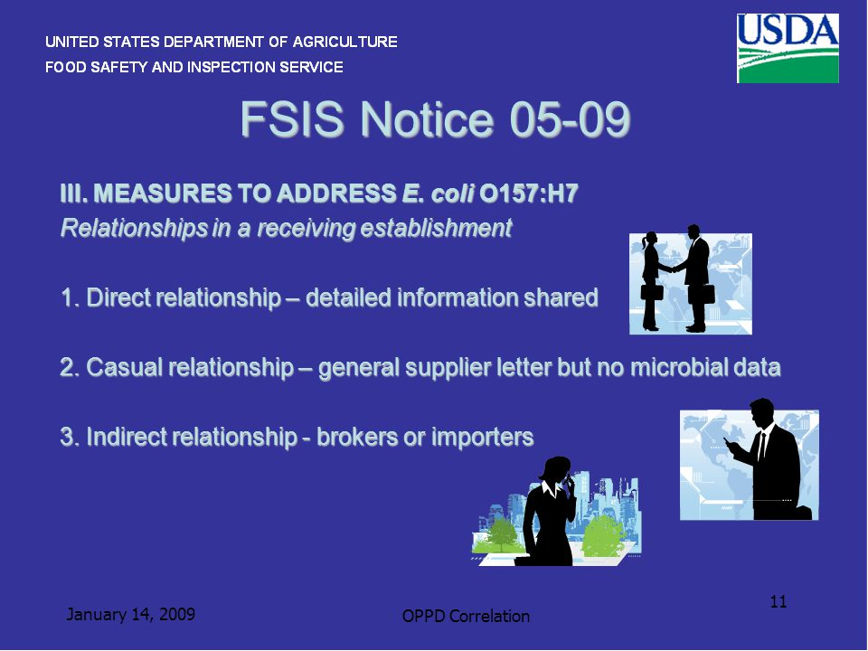 January 14, 2009 OPPD Correlation 11 FSIS Notice 05-09 III. MEASURES TO ADDRESS E. coli O157:H7 Relationships in a receiving establishment 1. Direct r